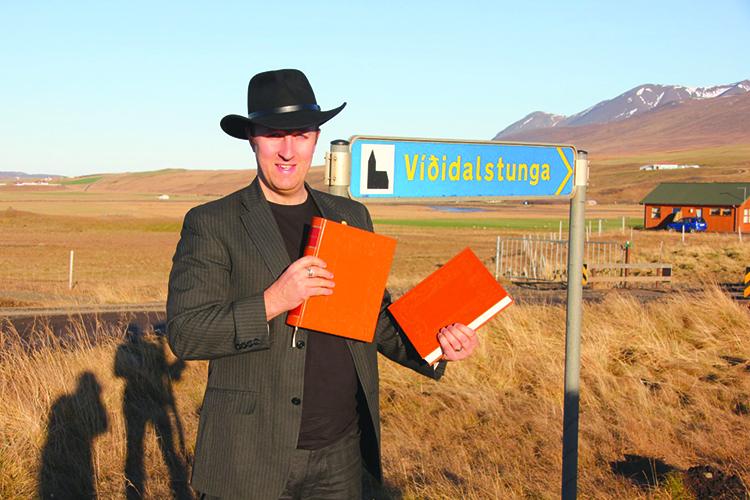 Photo: Anders Kvåle Rue Bård Titlestad at Viðidalstunga, Iceland, where Flateyjarbók's sponsor Jón Hákonarson lived and created his magnum opus in 1387.