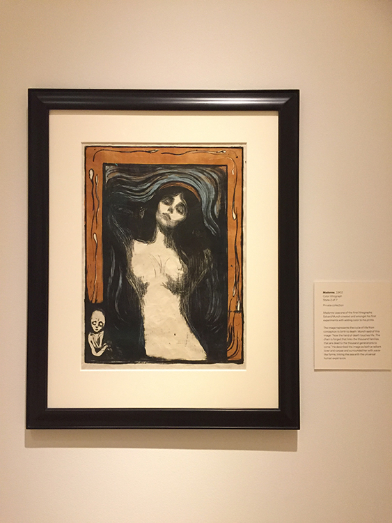 "Photos: Linn Chloe Hagstrøm The exhibition at TAM has 26 of Edvard Munch's prints, including  two versions of ""Madonna."" The sperm and corpse along the outside represent the cycles of life, and the waves surrounding the woman are an echo of the sea."