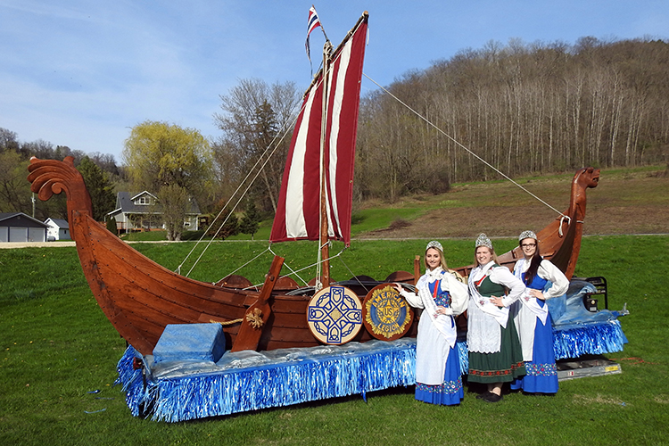 Photo: David Torgerson Westby Syttende Mai Princesses pose in front of the SON float.