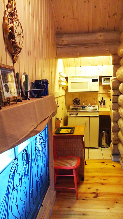 Photo courtesy of Inn at Solvang Among many modern conveniences and decorative touches that old stabburs lacked, here you see this one's kitchenette and the wrought iron art commissioned for the owner. It also has a sauna and a bidet!