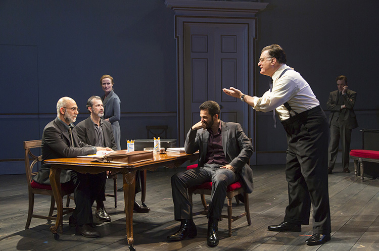 Photo: T. Charles Erickson /  courtesy of Lincoln Center Theater nthony Azizi, Dariush Kashani, Michael Aronov, and Joseph Siravo play members of the negotiating groups. The Mona and Terje characters look on with hope and apprehension.