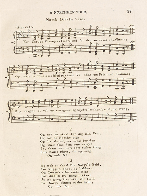 """Photo: Nasjonalbiblioteket / Wikimedia Commons   A page from Sketches on a tour to Copenhagen, through Norway and Sweden by Jens Wolff, 1816. This is the beginning of """"Norges Skål,"""" a revolutionary Norwegian drinking song."""