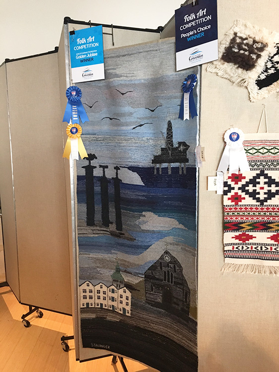 Photo courtesy of Sons of Norway Kirsten Håheim's woven rug was awarded both the People's Choice Award and the Golden Jubilee Award in the Folk Art Competition.