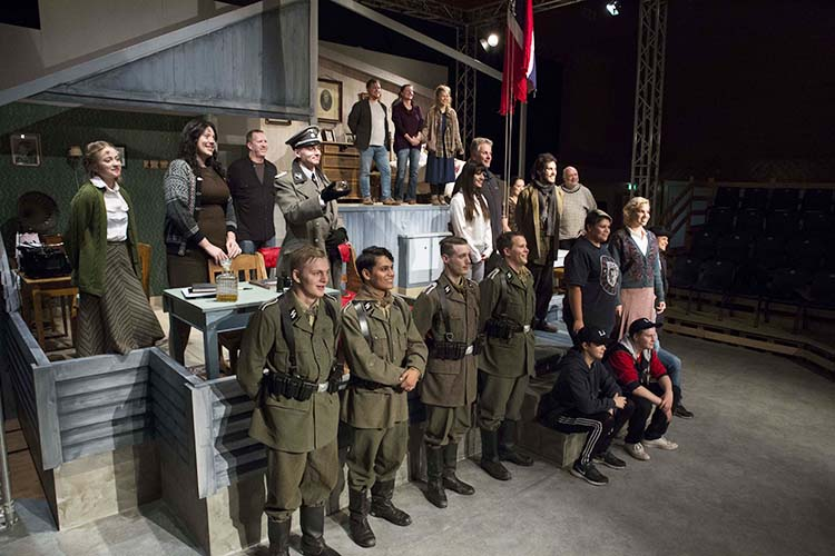 Photo courtesy of Bruce Solheim The cast gathers on the set built for them in Åse, Norway.