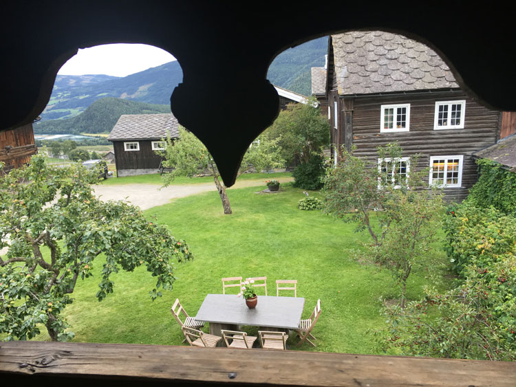 A view of Sygard Grytting from the second floor of one of its guest buildings. Staying at the farm is like time traveling, an incredibly peaceful place to rest of a night. Photo by Emily C. Skaftun