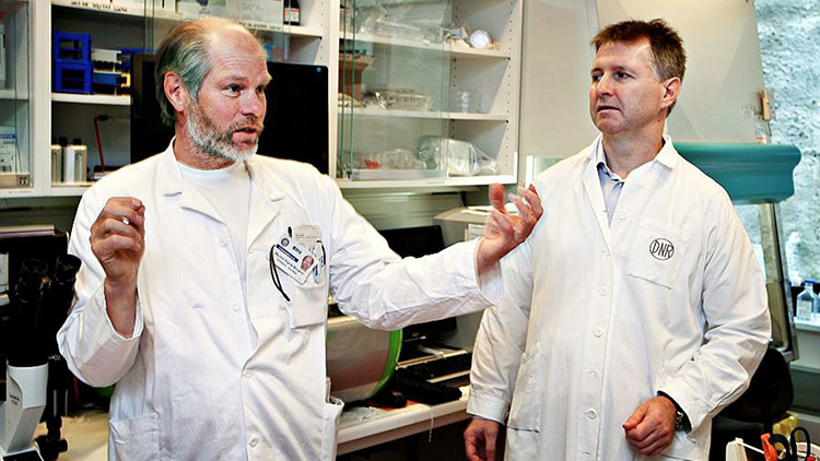 Oncoinvent Chief Medical Officer Øyvind Bruland with founder Roy Hartvig Larsen.