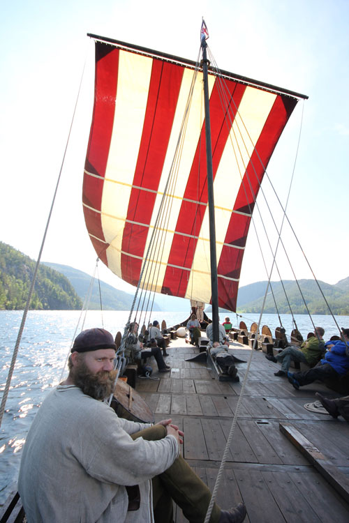 Olavs Menn, a group of reenactors, take to the water. Leif Erikson's voyages might have looked similar. Photo by Olavs Menn