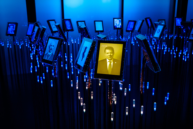 Photo: Johannes Granseth /  Nobel Peace Center The Nobel Field, an exhibit in the Nobel Peace Center with information on all the Prize's winners.