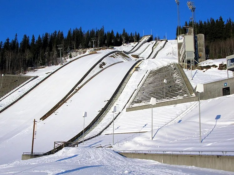 The ski jumps used for the 1994 Lillehammer Olympics.