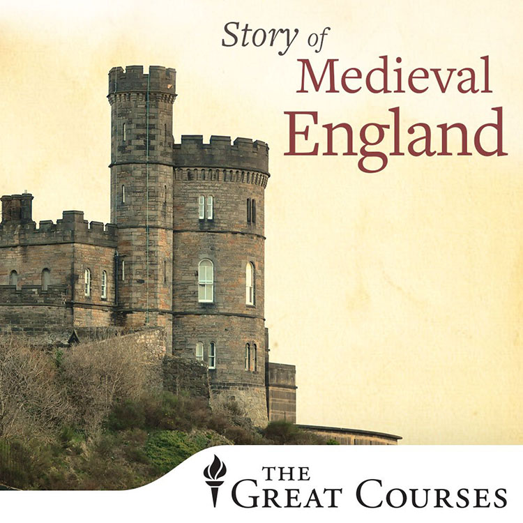 Poster fo The Story of Medieval England, with a castle as the background image