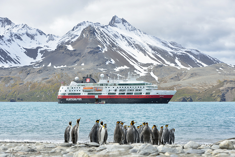 A Hurtigruten ship and a group of penguins.