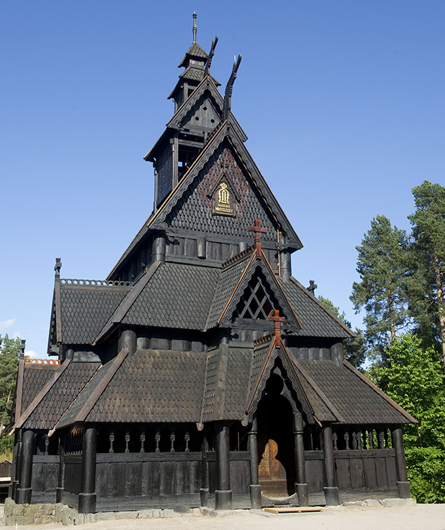 Stave church at the museum.