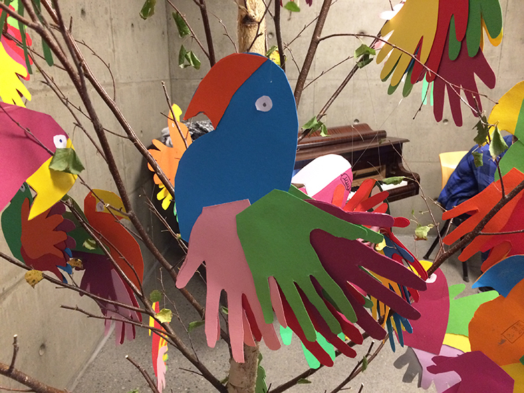 A colorful paper parrot.