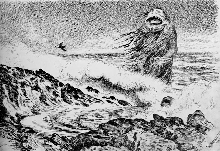 An illustration of a sea troll.