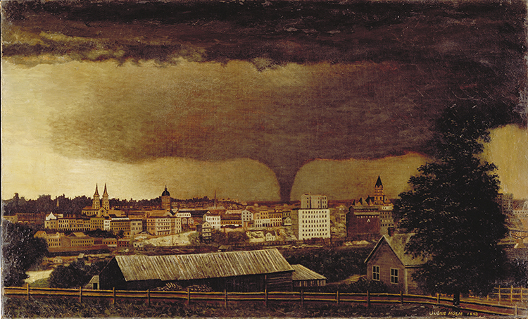 "Julius Holm's ""Tornado Over St. Paul"" painting."