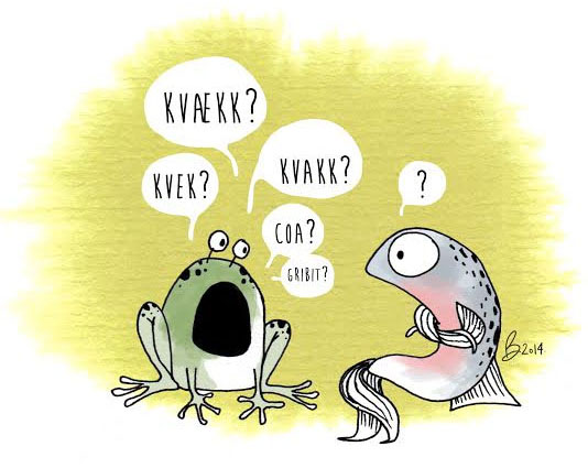 An illustration of a frog and a fish.
