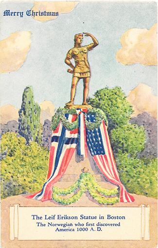 Boston Leif Erikson statue vintage postcard