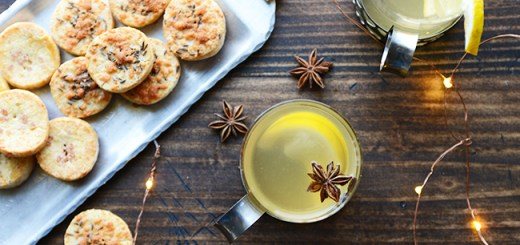 Cheese biscuits and aquavit hot toddy