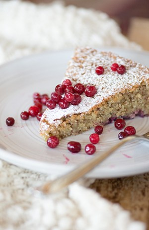 Lingonberry-Studded Almond Cake