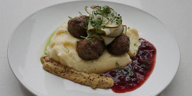 a plate of Swedish meatballs at FIKA