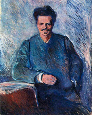 a painted portrait of August Strindberg looking straight ahead at the viewer in a blue suit