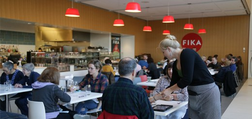 the crowded inside of the FIKA cafe