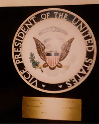 A plaque with the seal of the Vice President of the United States of America