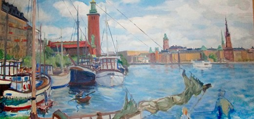 The Stockholm waterfront painted by Hans-Erik Eriksson with boats, bikes, and spires.
