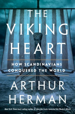 """book cover for """"The Viking Heart"""" with a viking ship in the background"""