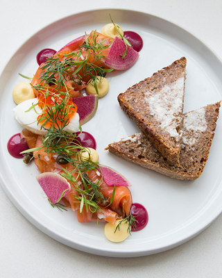 Gravlax, vegetables, dil, and toast