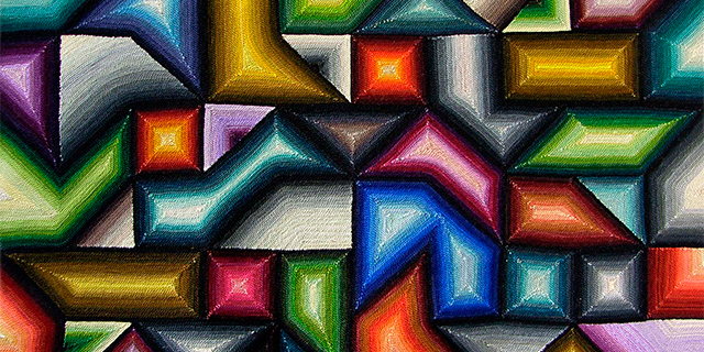 a geometric woven design