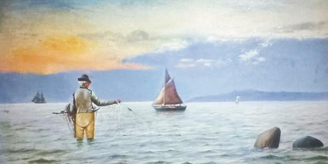Fishing Off Bergen painting
