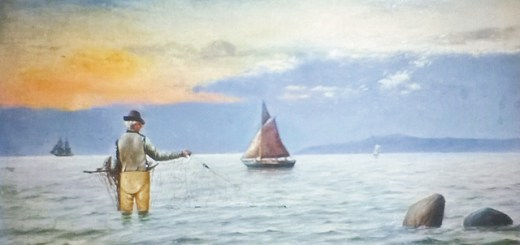 a painting of a man fishing with a sailboat in the background