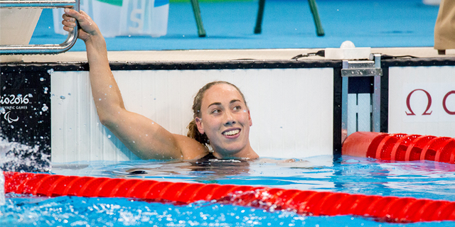 Sarah Louise Rung is swimming in this year's Paralympics