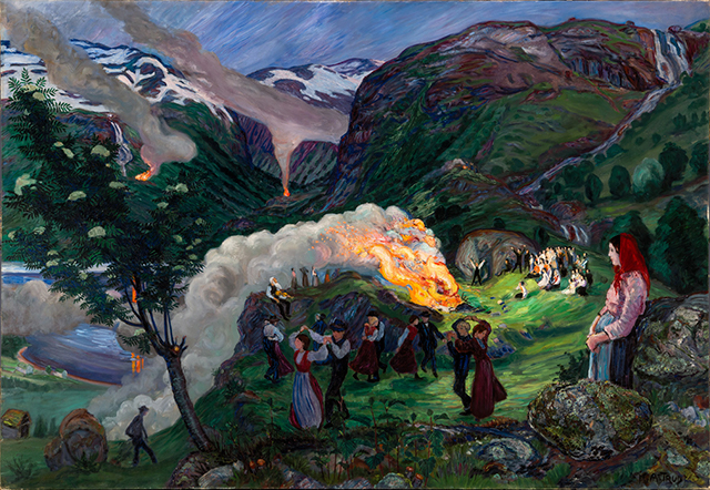 a painting of a people dancing in the evening by Nikolai Astrup