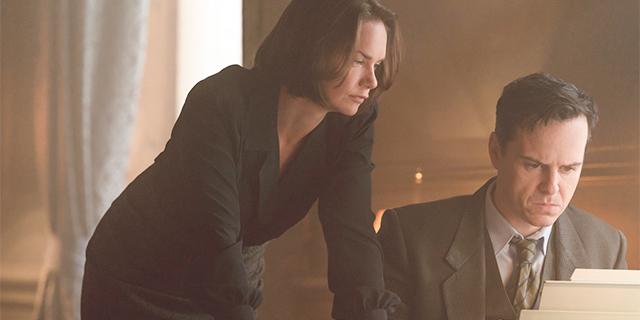 Ruth Wilson and Andrew Scott play Mona Juul and Terje Rød-Larsen in the film Oslo