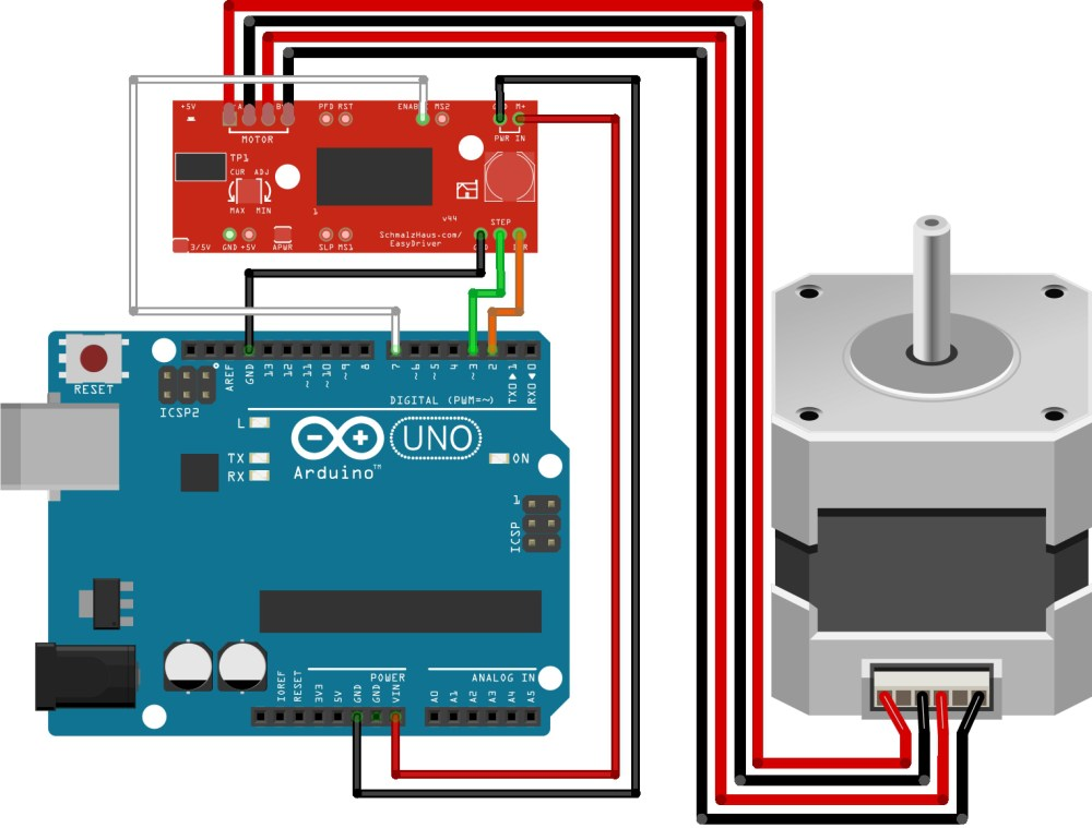 medium resolution of the wiretable for arduino easydriver stepper motor tutorial