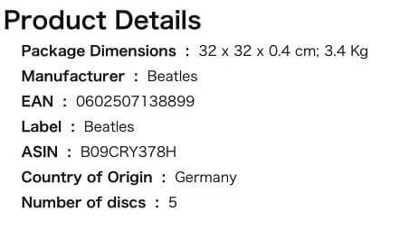 Ifølge denne japanske Amazon-beskrivelsen av LP-utgaven viser vekt samt at det er 5Lp-plater i boksen.