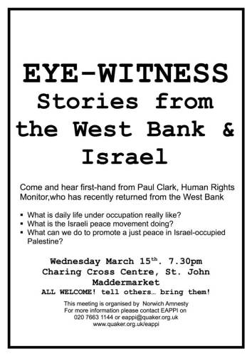 Israel eye witness talk