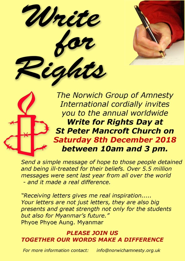 Join us for Write for Rights on Saturday 8th December
