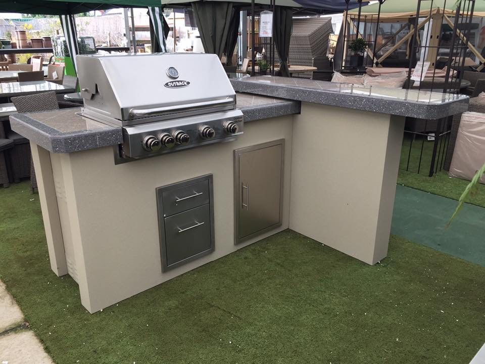 outdoor kitchen bbq slim cabinet outback with 4 burner stainless steel