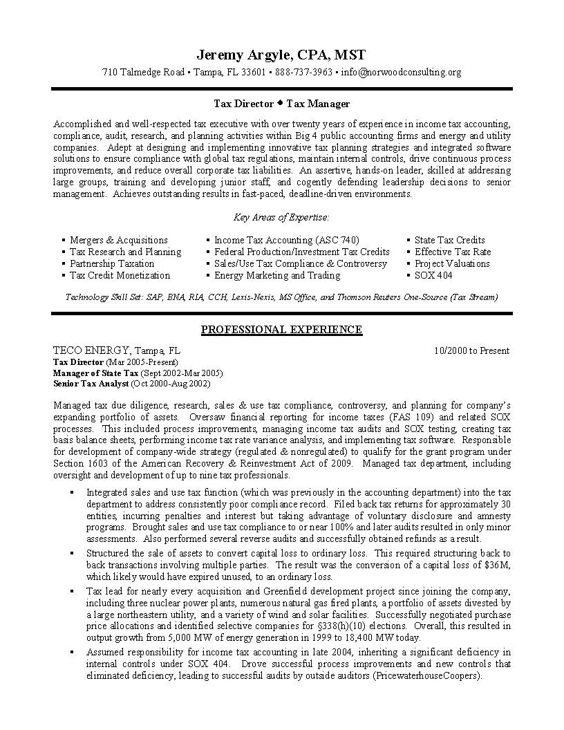 Tax Director Sample Resume Professional Resume Writing