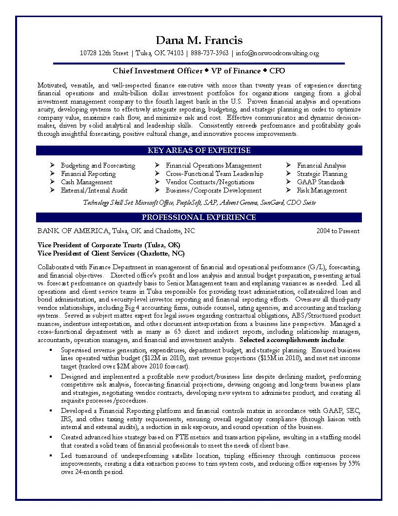 cfo sample resume vp of finance sample resume certified resume - Financial Resume Example