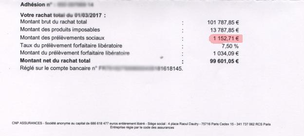 taxation de notre rachat total sur le contrat Nuances Plus