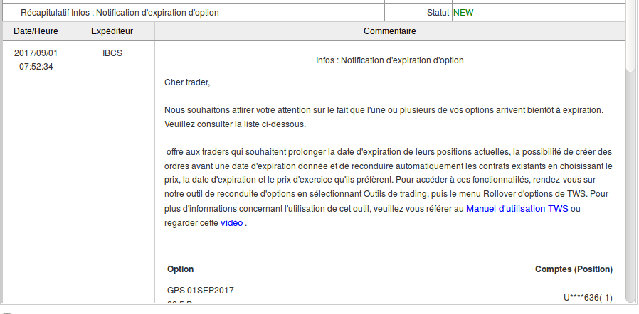 Message Interactive Brokers détachement de dividendes