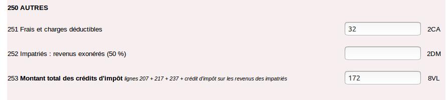 Déclaration des revenus - déclaration annexe 2047