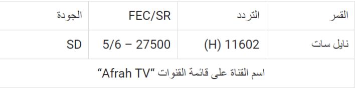 تردد قناة أفراح 2021