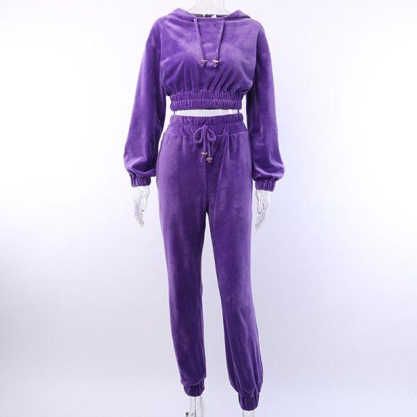 Artsu Flannel 2 Two Piece Set Sport Suit Pink Fleece Crop Top Hoodies Sweat Pants Women Matching Sets Clothing Outfit ASSU70116