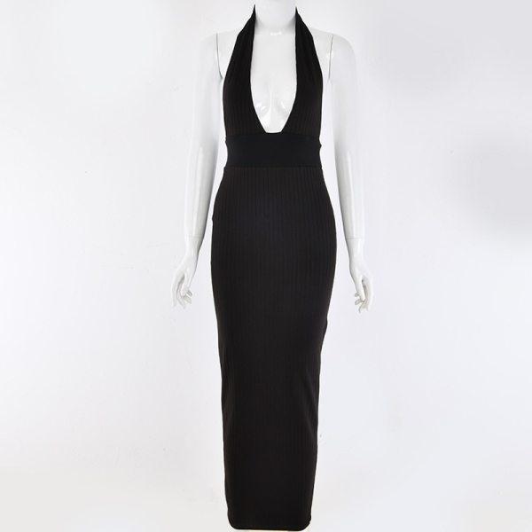 Joskaa Halter V Neck Sexy Maxi Dress Women Off Shoulder Backless Bodycon Long Summer Dress Elegant Beach Party Club Dress