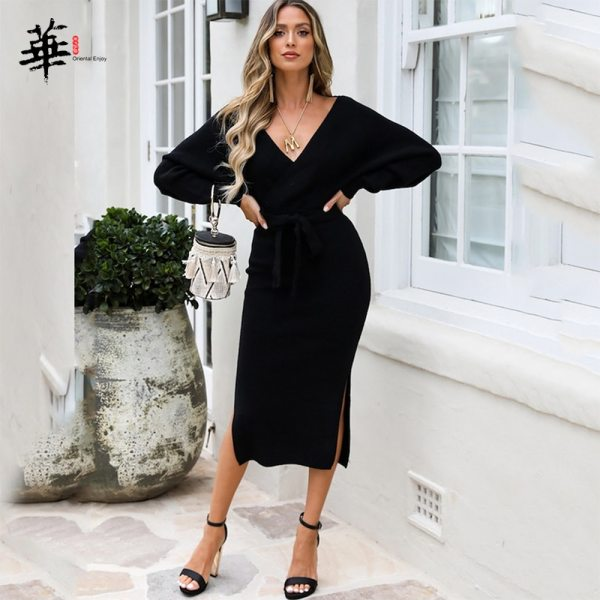 Women's Knitted Dress Winter Sexy Casual Long Sleeve Fashion Party Plus Size Vintage Elegant Sweater Dresses for Women Female